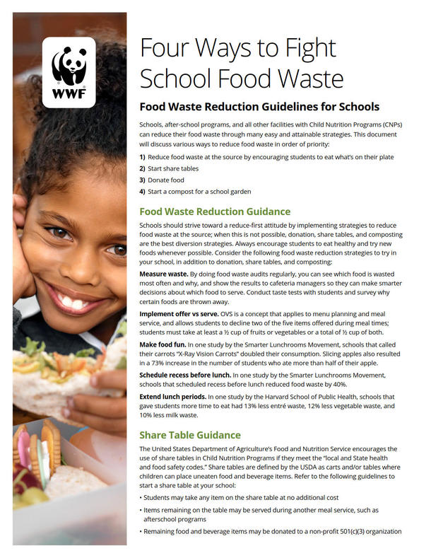 Four Ways to Fight School Food Waste Brochure