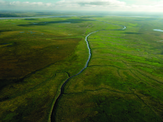 River snaking down an area of Bristol Bay