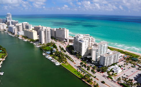 Aerial view of South Beach in Miami, Florida