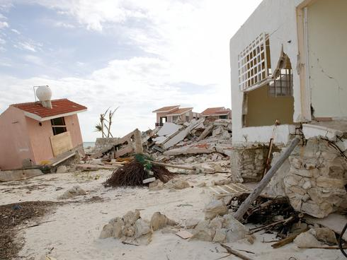 Cancun houses after hurricane storm disaster