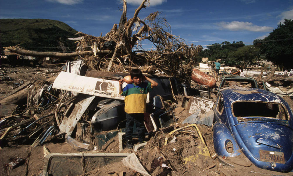 Severe devastation throughout Tegucigalpa, Honduras after hurricane Mitch.
