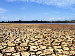 Ilha do Caju, state of Maranhão, Brazil severely affected by droughts causing cracked soil.