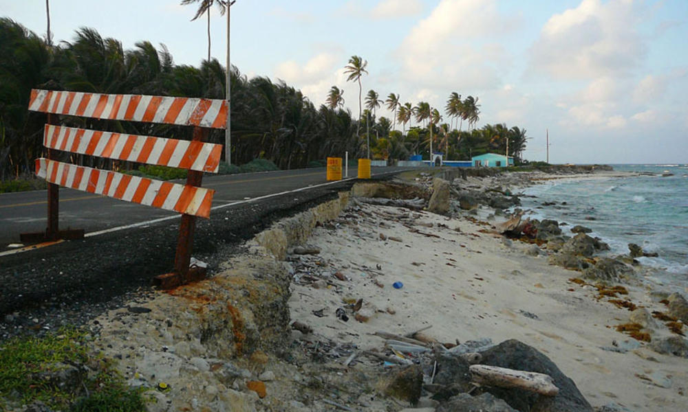 A severely eroded beach in San Andres, Colombia