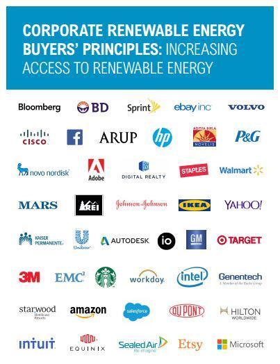 Corporate Renewable Energy Buyers' Principles: Increasing Access to Renewable Energy report cover