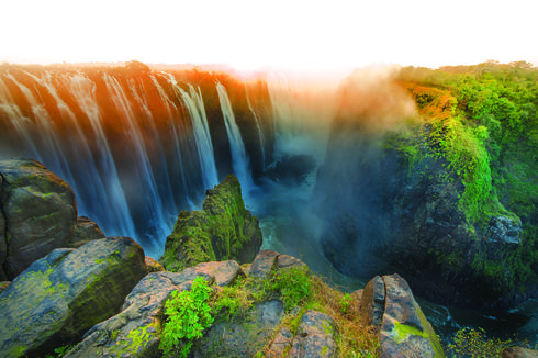 The majestic Victoria Falls, border between Zimbabwe and Zambia