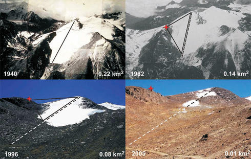 Retreat of the Chacaltaya Glacier, Bolivia 1940-2005