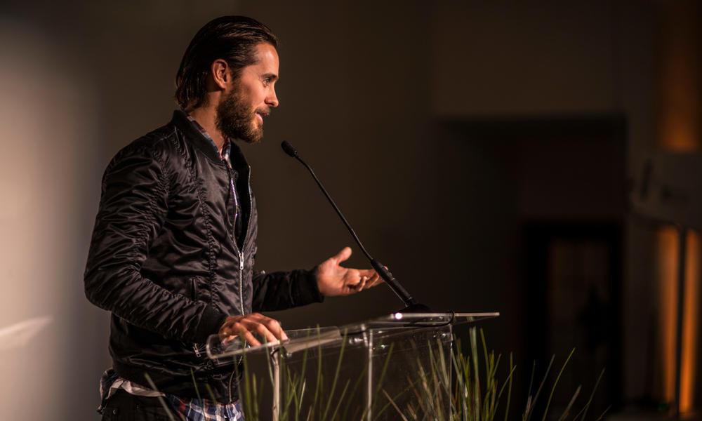 Jared Leto giving remarks