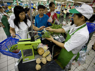 Shoppers at Carrefour supermarket, Furongguangchang store, Changsha, China