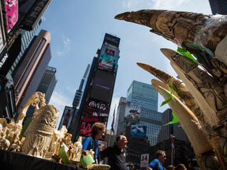 Ivory carvings in New York City's Times Square.