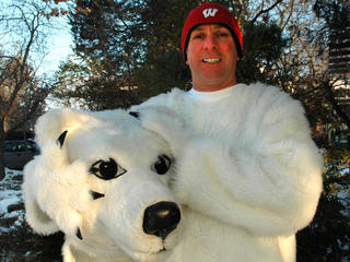 Jeff Neterval in a polar bear costume.