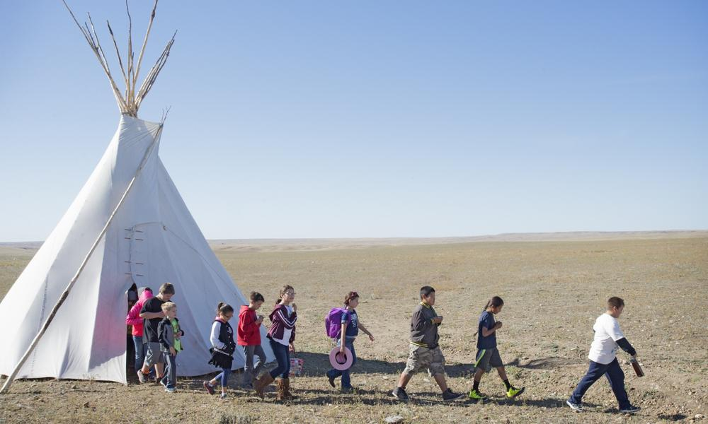 Students from Fort Peck schools visited a number of tipis and displays to learn more about bison.