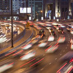 Cars in the evening rush hour in Dubai City, UAE.