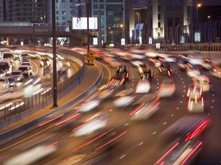 Cars in the evening rush hour in Dubai City, UAE.