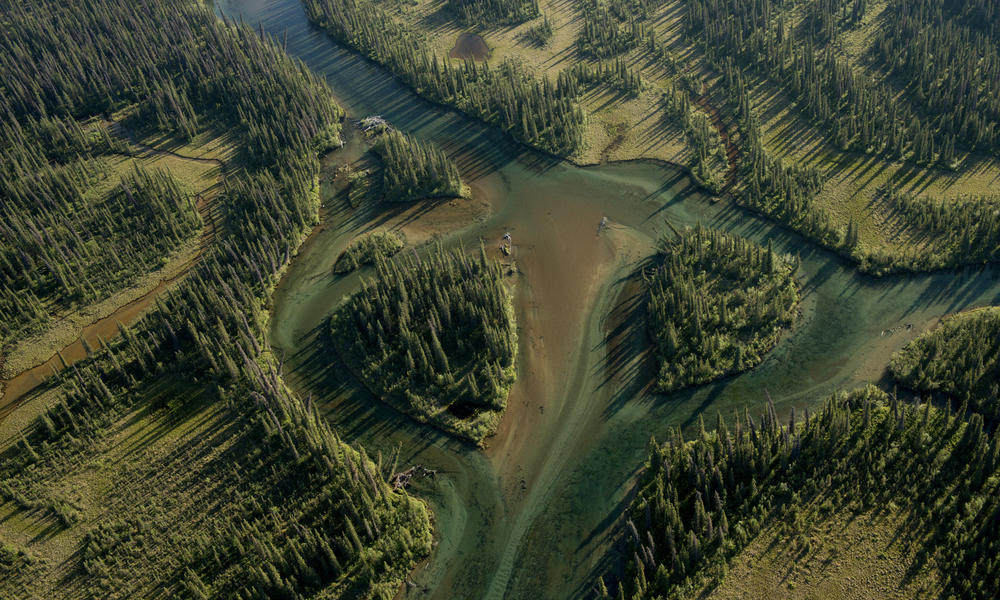 An aerial view of landscapes in the Bristol Bay watershed.