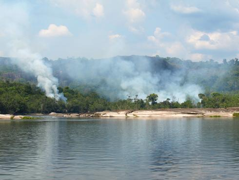 Fire along the banks of the Orinoco River