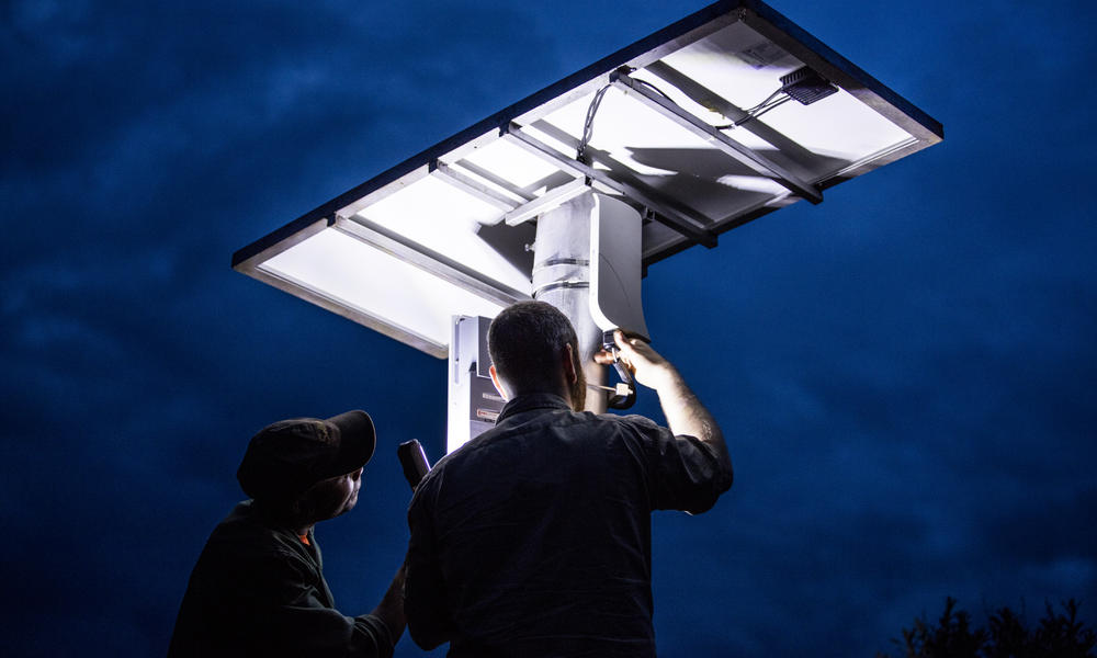 Tower-mounted solar panels for FLIR camera