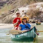 Nancy Labbe (WWF-US) and Jon Radtke (TCCC) riding a canoe on the Rio Grande River, Texas.