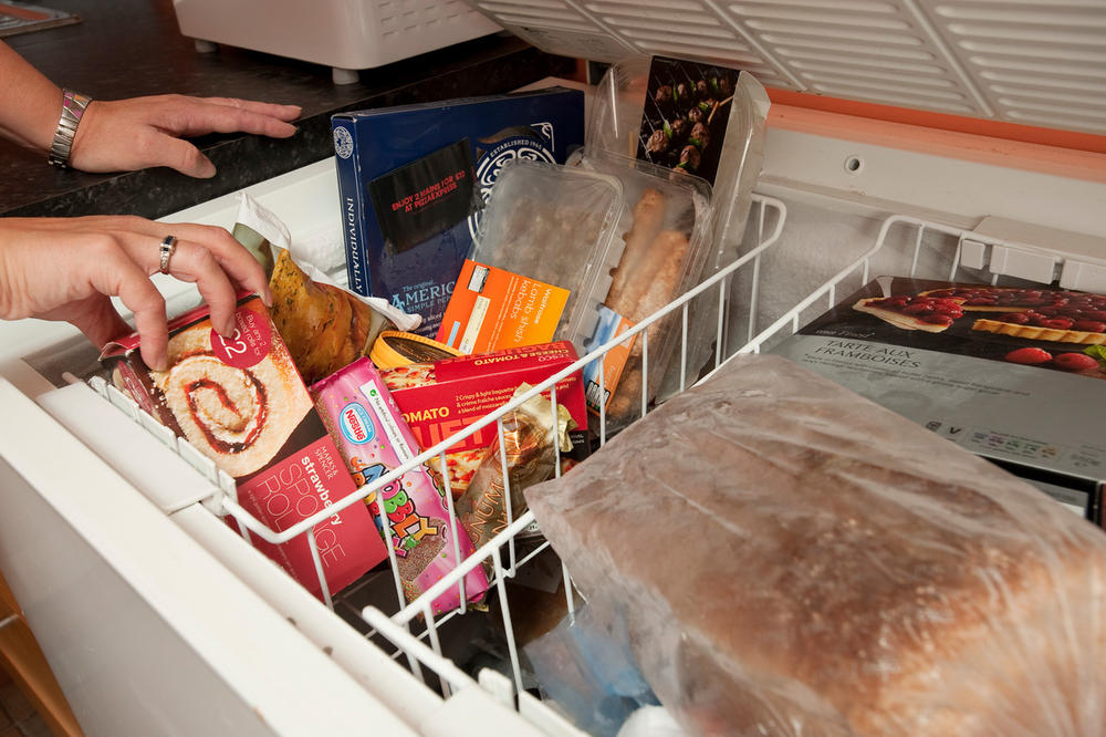 A deep freezer containing frozen foods