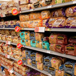 Breads in a supermarket aisle