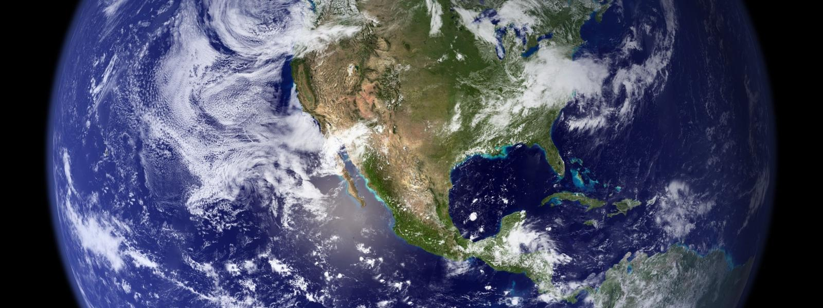 Planet Earth from space showing North America and the Atlantic and Pacific Oceans.