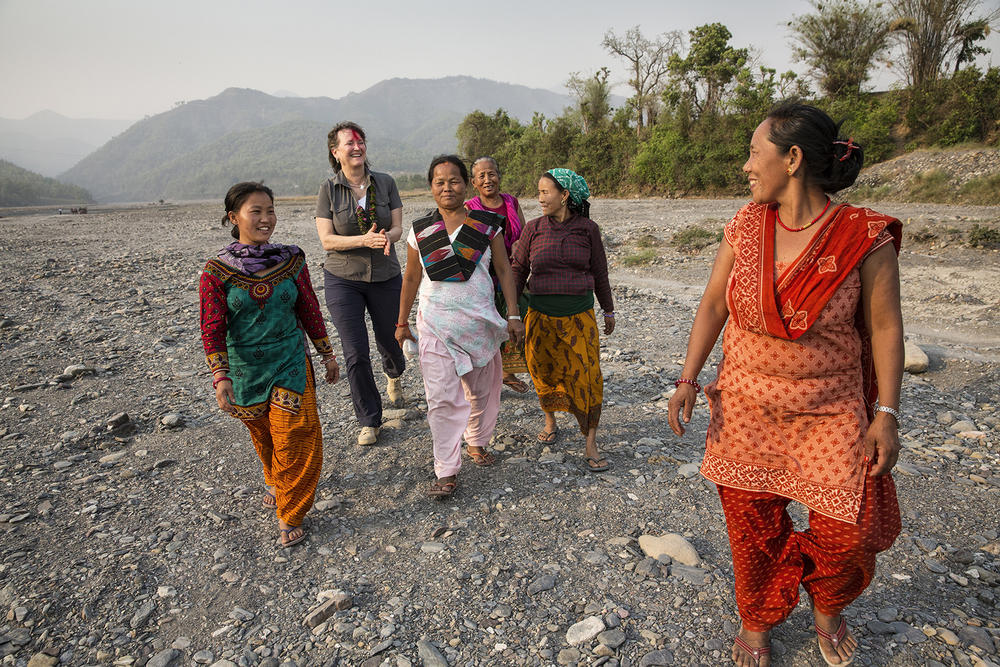 Members of Kerunge Khola's Community Learning and Action Center for a walk