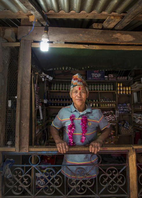 "Sunbir Ghale's house powered by electricity from a ""micro-hydro"" system"