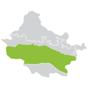 map of the mid-hills region in the Gandaki river basin