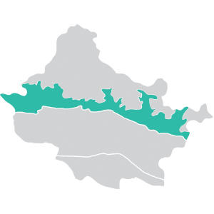 map of the high mountains region in the Gandaki river basin