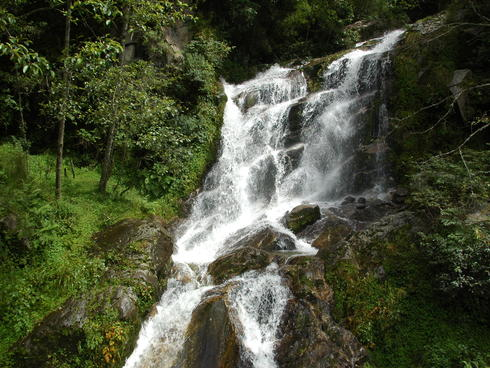 A waterfall in Bhutan.