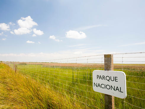 A sign saying Parque Nacional in Coto Donana.
