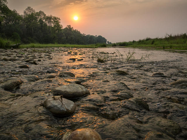 Landscape of a river in Nepal
