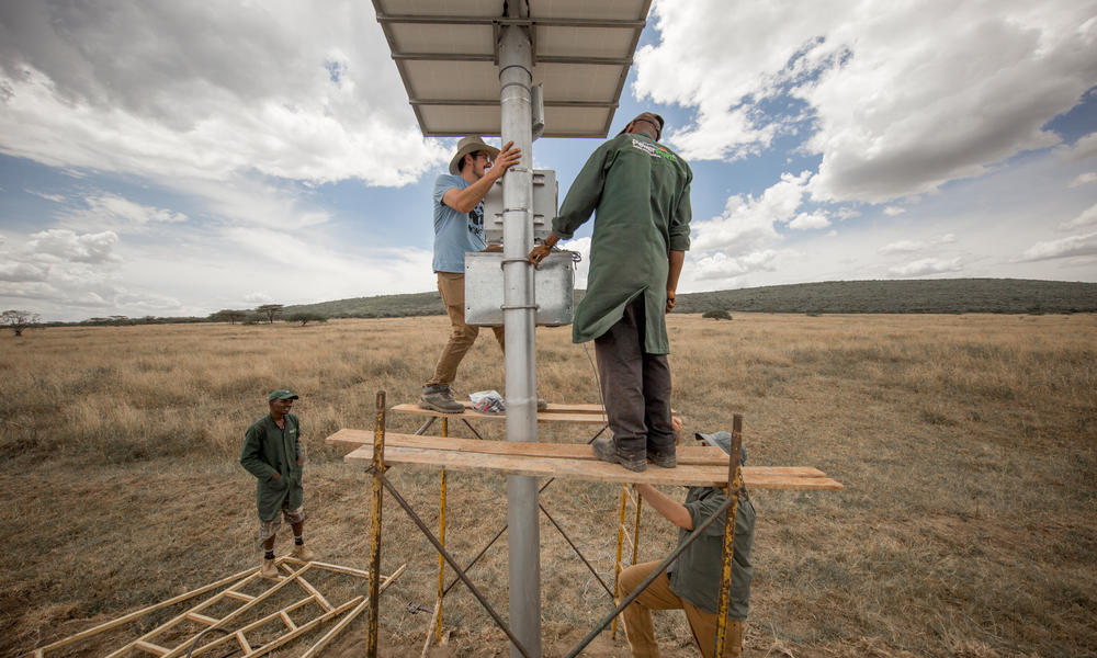 Installing a FLIR camera in Kenya as part of WWF's Wildlife Crime Technology project