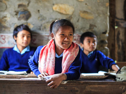 Student Shanti Bote sitting in a classroom.