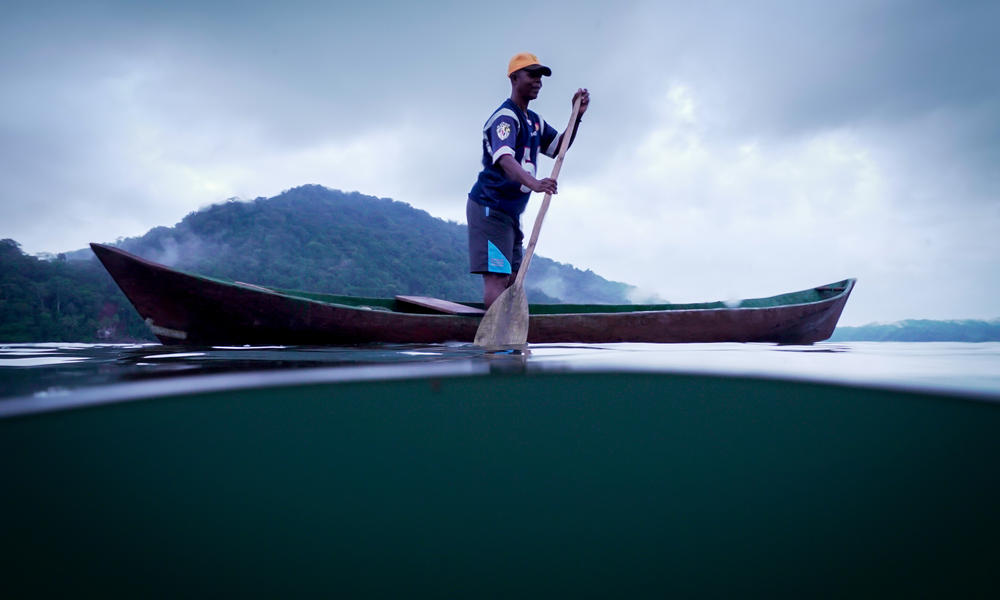 A Colombian man fishing