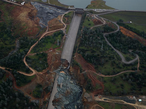 A Damaged spillway, Lake Oroville, CA.