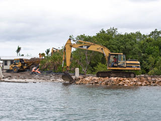 Construction in Belize's barrier reef