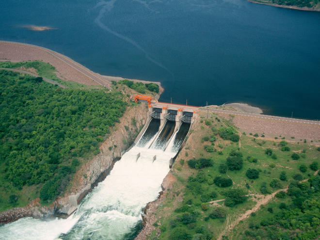 Water flowing out of a dam in Zambia.