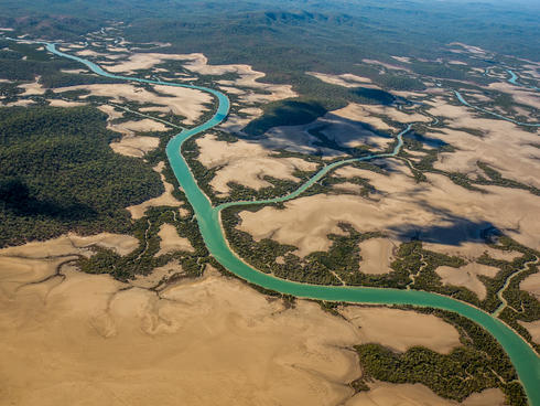 Aerial view of the Fitzroy Delta in Australia.