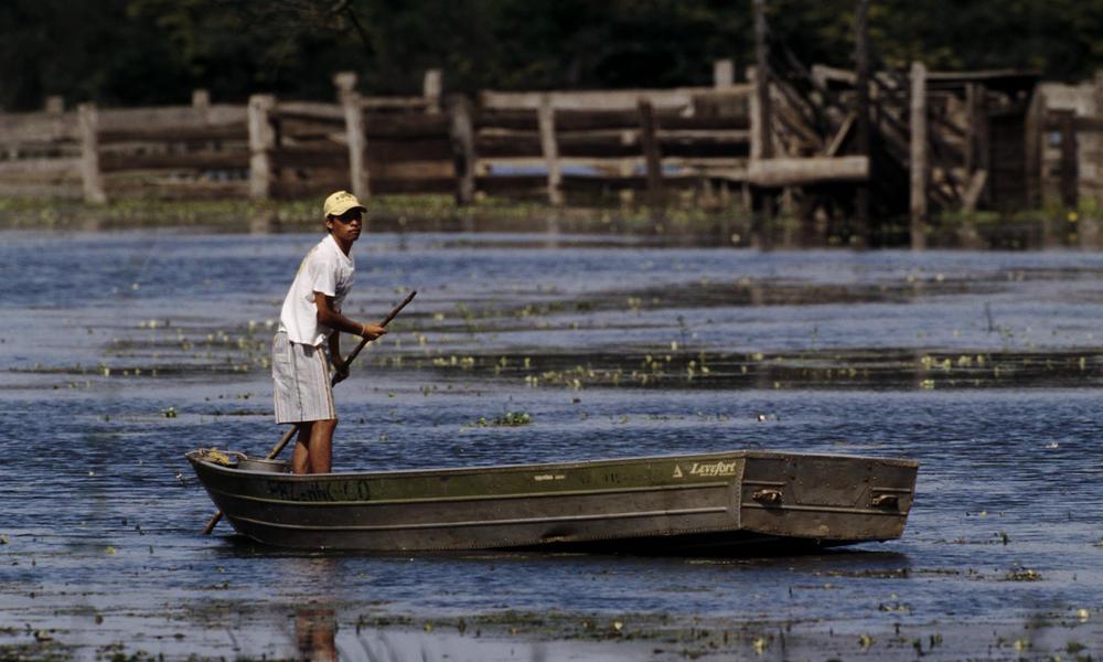 A boy in a flat boat in Pantanal, Brazil.