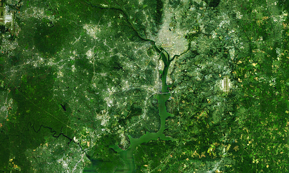 Satellite image of the Potomac River Basin