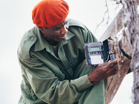 A wildlife ranger fixing a camera trap in Selous
