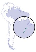 Map of South America pointing Tapajos River in relation to it