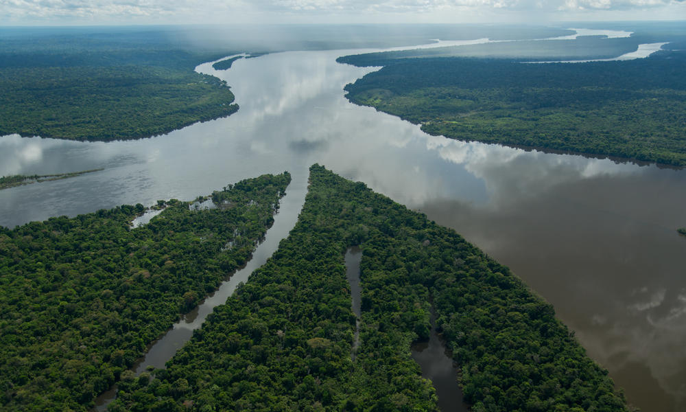 Rivers mouth of Teles Pires and Juruena, forming the Tapajos River.