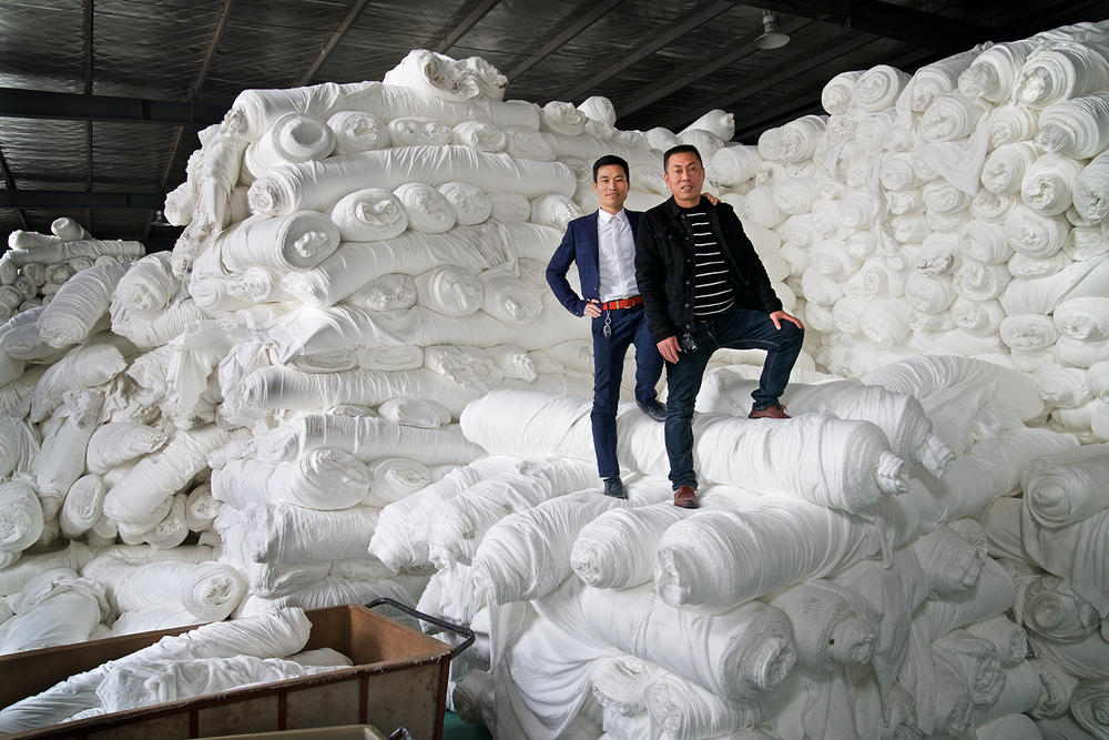 The Song brothers at their textile factory in Changzhou.