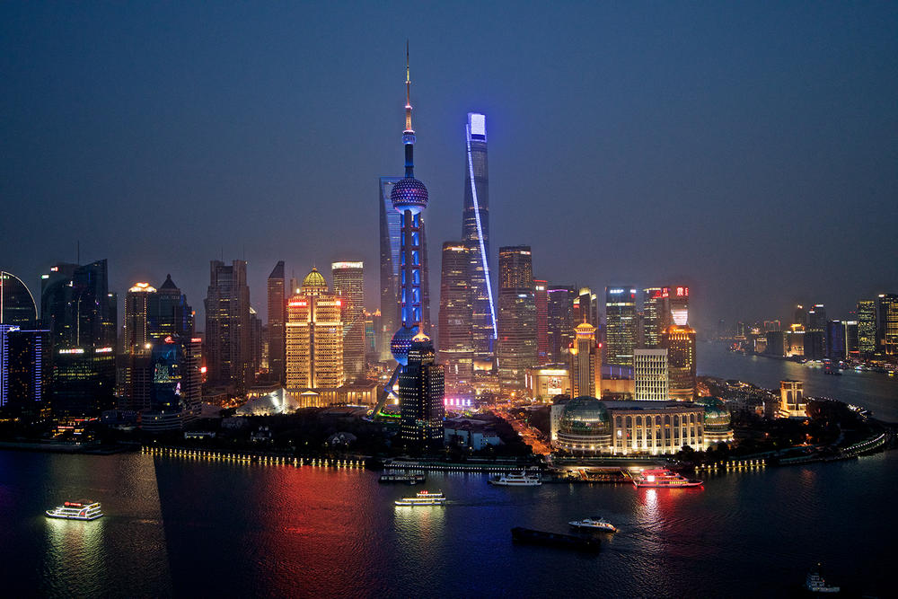Shangai skyline at night
