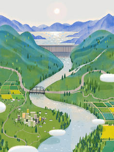 Source to sink river illustration