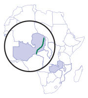 Map of Africa and where the Luangwa River is relation to the continent