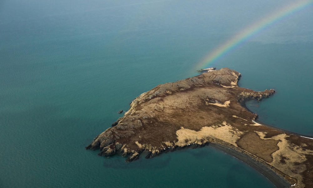 A rainbow over Right Hand Point, Bristol Bay.