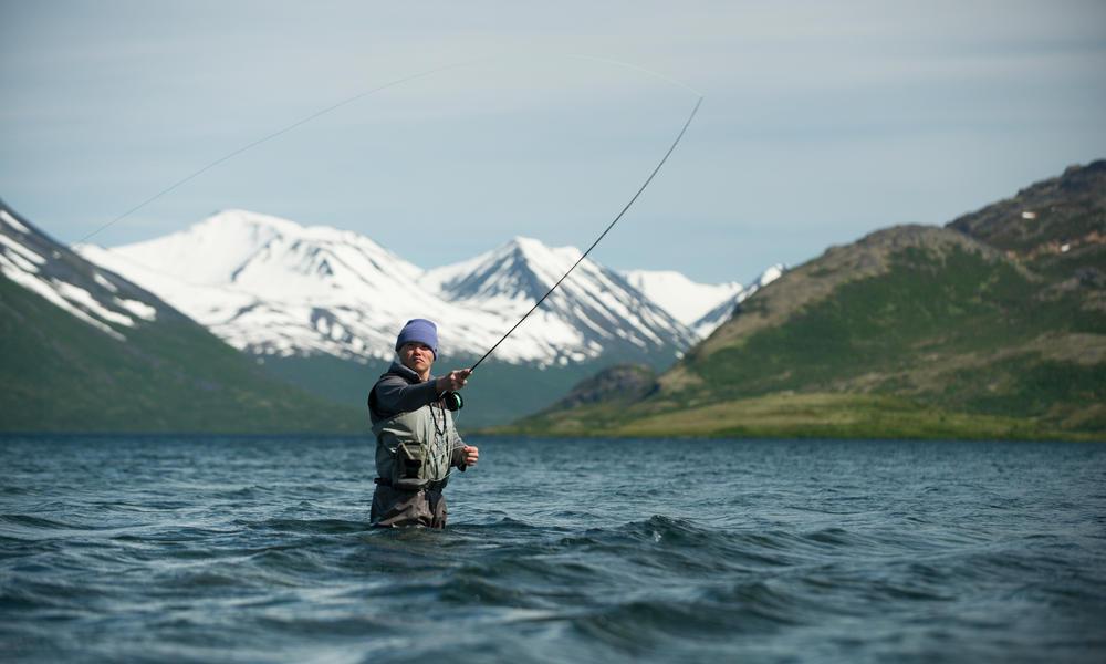 Sean Nelson fly fishing in Bristol Bay.