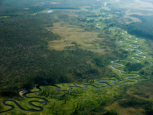 A meandering river in Bristol Bay